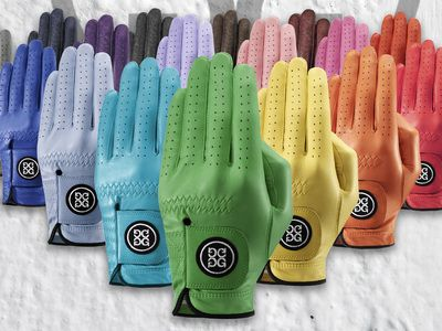 GFore. Add Color to Your Game with GFORE Golf Gloves. They're available in a wide variety of colors with custom Options. Gfore Gloves are made of Quality Cabretta leather from Mossimo and can be purchased at http://www.gfore.com