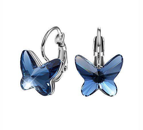 Boucles d'oreilles papillons en or blanc plaqué et cristaux de saphir Swarovski Elements Crystal Sapphire #Boucles #d'oreilles #papillons #blanc #plaqué #cristaux #saphir #Swarovski #Elements #Crystal #Sapphire