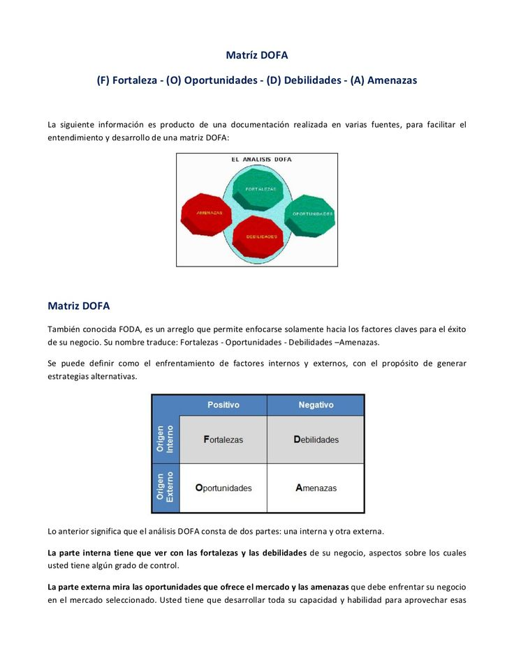 ¿Cómo construir una Matriz DOFA? by remyor09 via slideshare