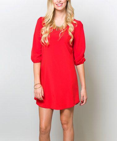 Look what I found on #zulily! Bright Red Shift Dress - Women #zulilyfinds