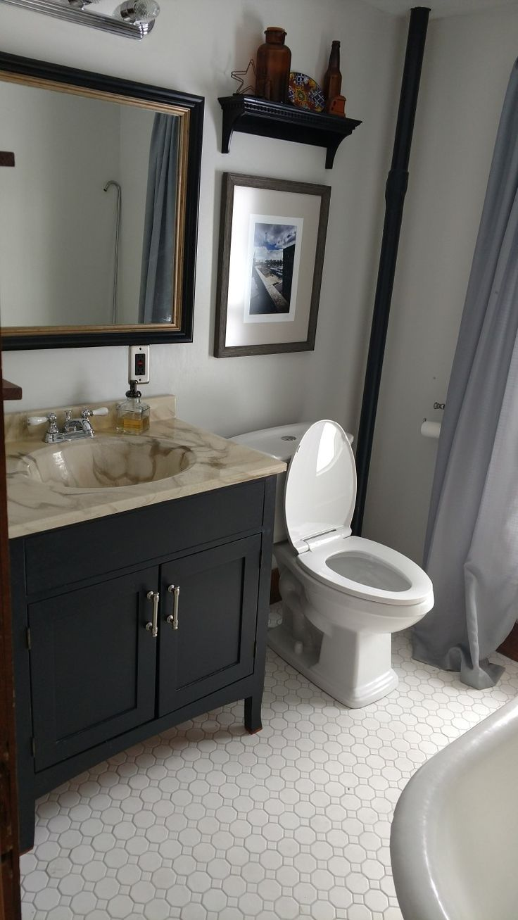 Classic Bathroom Update With Octagon Dot White Tile And