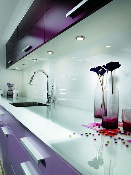 Purple Glossy Kitchen And Glass Splashback