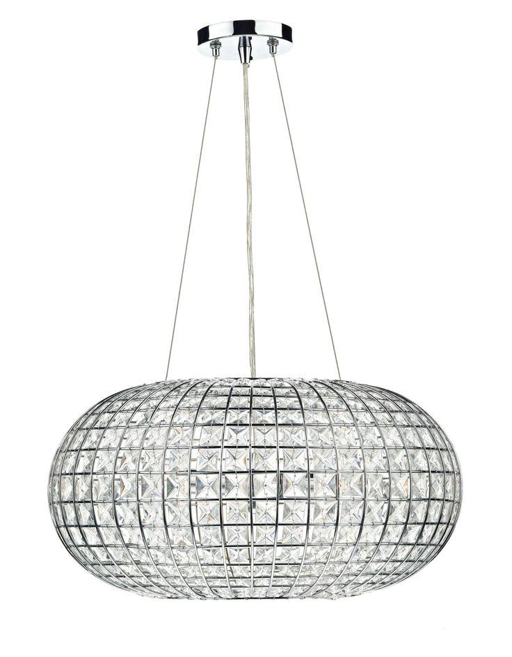 Suspension plaza en chrome poli et cristal à facettes, 3 lumières Livraison Gratuite