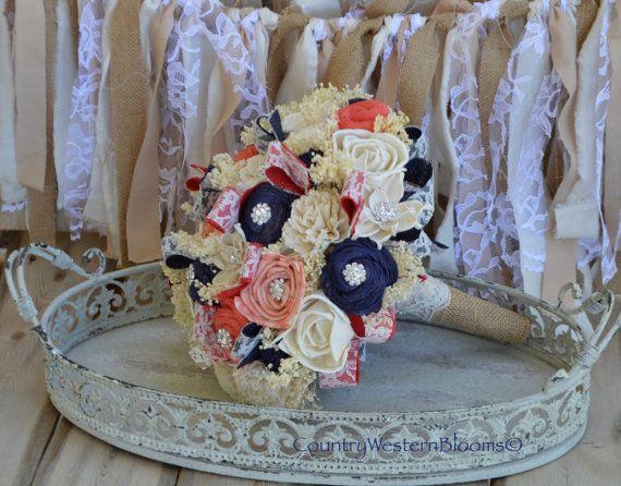 READY TO SHIP Bouquet, Navy Bouquet, Coral Bouquet, BrideBouquet, Wedding Bouquet, Sola Flower Bouquet, Navy Coral Bouquet, Rustic Bouquet