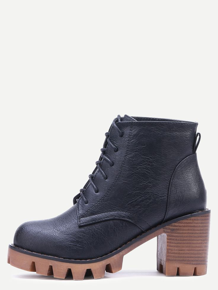 Shop Black Faux Leather Round Toe Lace Up Short Boots online. SheIn offers Black…