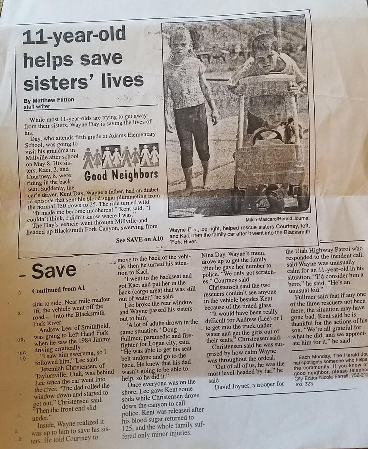 After the car hit water their dad rolled down his window and swam to shore. My husband was 11 then and risked his life to save his 2 sisters. The man who assisted in the rescue later contacted the local news paper and they wrote up this article about him. We finally found a copy!