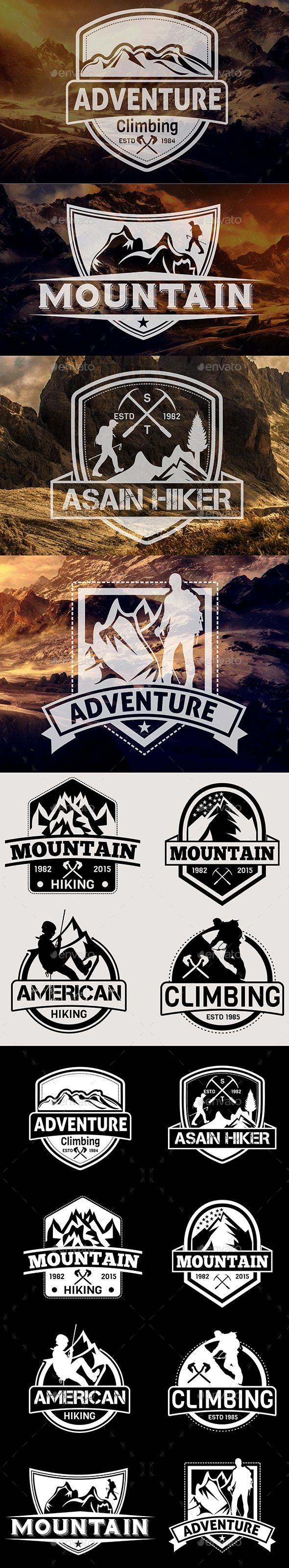 Mountain Hiking Badges Vol 22 - EPS Template • Only available here ➝ http://graphicriver.net/item/mountain-hiking-badges-vol-22/13021342?ref=pxcr