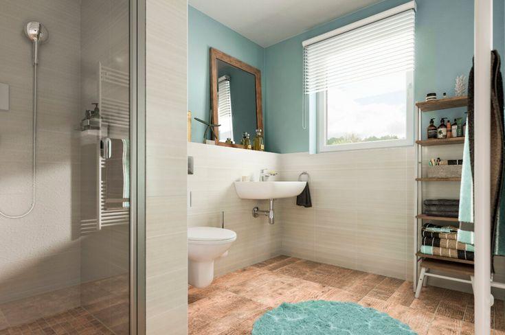 Modernes Badezimmer mit Fliesen in Holzoptik  Dusche ebenerdig - kuche wohnzimmer offen modern