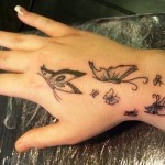 Black Butterfly Tattoo for Girls on Hand