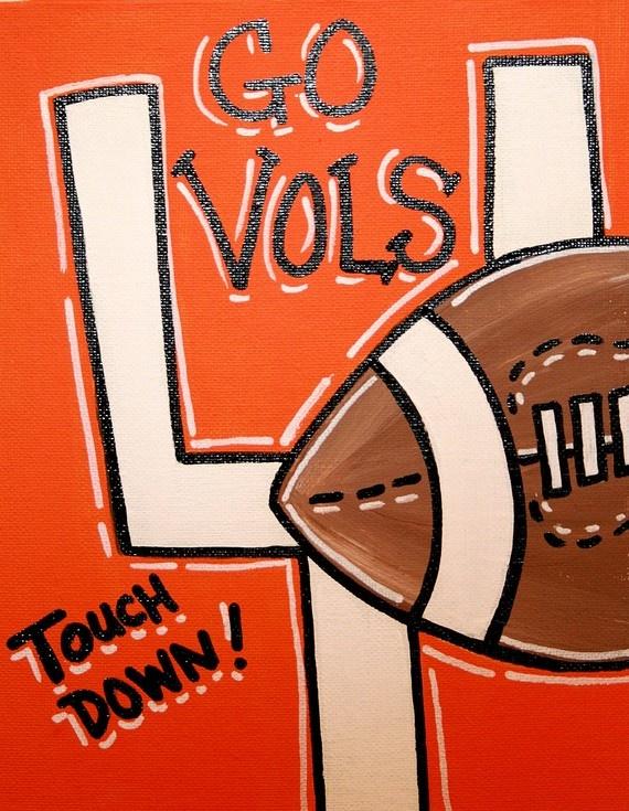 Tennessee Orange Go Vols Football Art Canvas by MustLoveArtStudio, $15.00