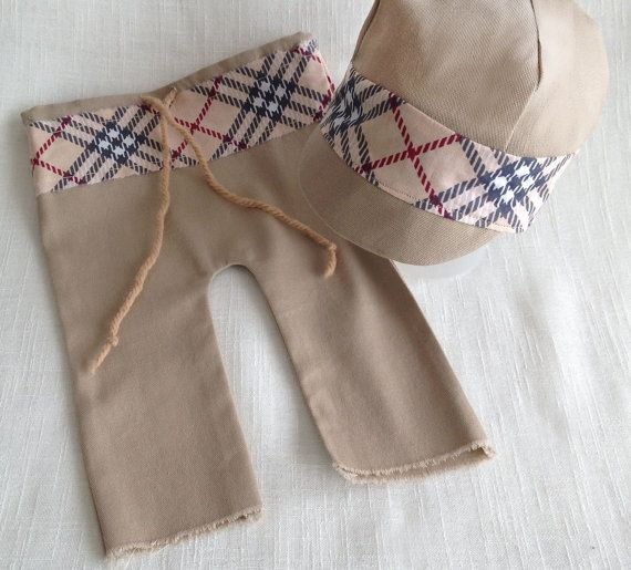 Newborn Pants and Oxford Cap Set Newborn boy by SquishyBabyStuff, $35.00