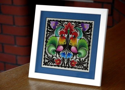 A hand-made by a master of Polish handicraft and beautifully framed traditional Łowicz paper cut-out- the Pearl of the Central Region