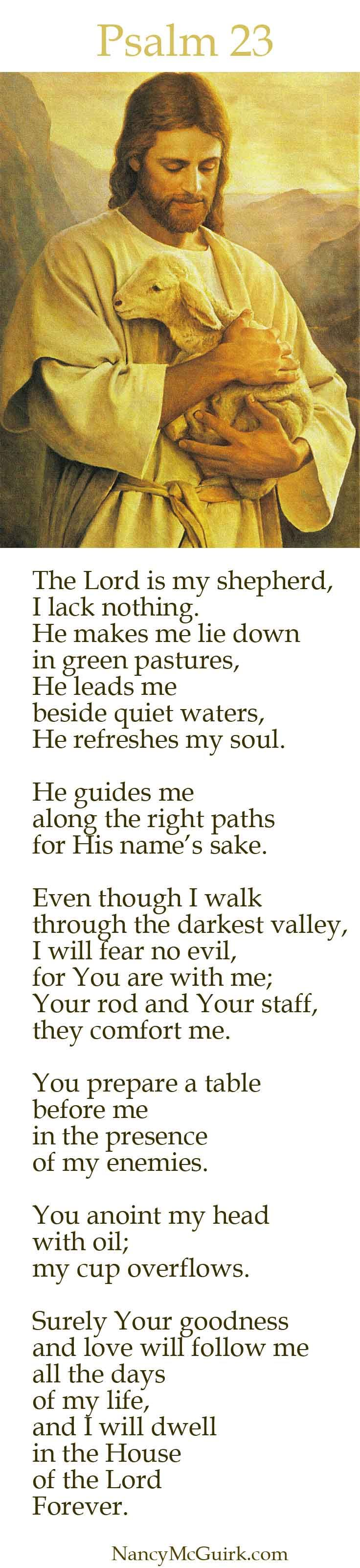 "Bible verse Psalm 23 ""The Lord is my shepherd, I lack nothing. He makes me lie down in green pastures, He leads me  beside quiet waters, He refreshes my soul. NancyMcGuirk.com"