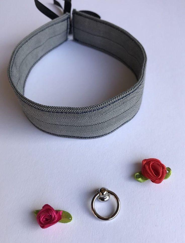 Halsband Damen schwarz weiß Stoff - wahlweise mit O-Ring oder Rose 32cm x 3cm  | eBay