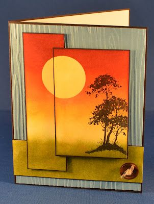handcrafted greeting card from Hofkissed: Serene Silhouettes ... luv the bright orange, yellow & olive colors .. design from Freshly Made Sketches #50 ... luv how the sunset colors run across all three panels and have black edging to emphasixe the design ,,. luv this card!! ...Stampin' Up!
