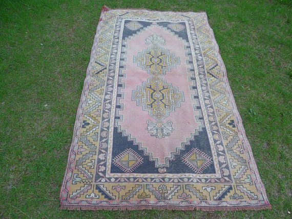 Anatolian Rug Faded Turkish Rug Vintage Oushak Rug Low Pile
