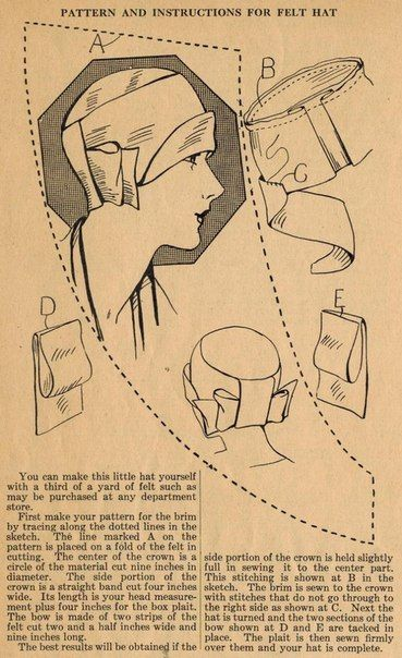 Pattern and instructions for felt hat