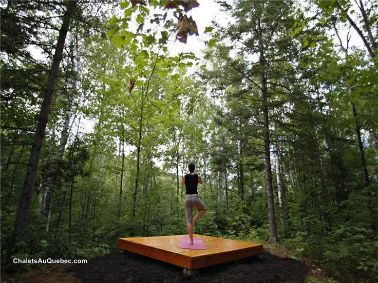 Much bigger than this yoga deck, obviously, but I love the feeling of this, with the trees all around.