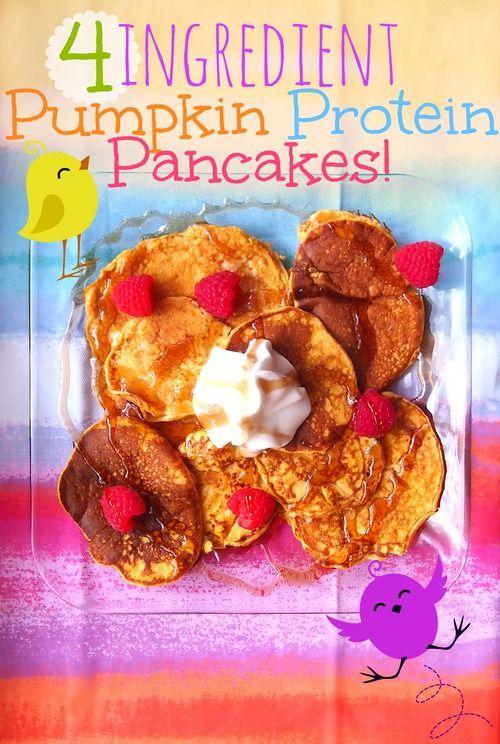 Four Ingredient Pumpkin Pancakes! 195 Calories for Eight Pancakes!