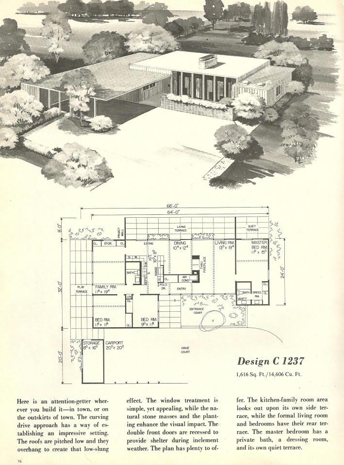 vintage house plans 1960s homes mid century homes - The Redwood House Plans 1960s