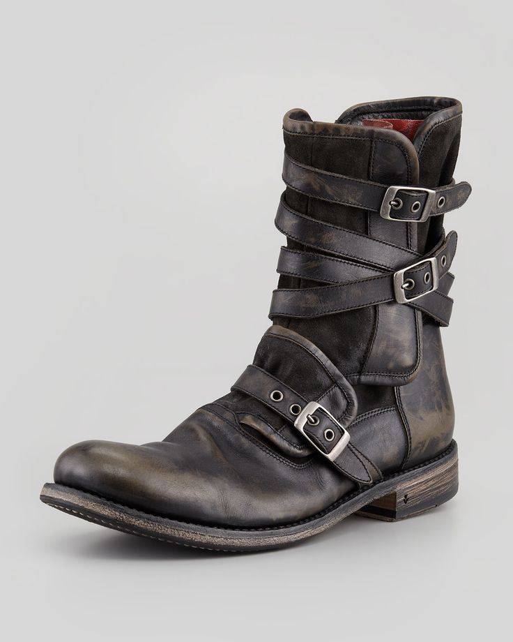 Fresh Footwear▫Multi-Strap Buckle Boot, Charcoal by John Varvatos