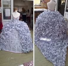 gcse art final piece - wedding dress made from divorce papers!