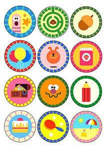 HEY-DUGGEE-BADGES-CUPCAKE-TOPPERS-12-x-6cm-A4-ICING-SHEET