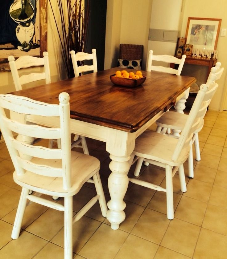 Country Cottage / French Provincial / Shabby Chic 2 Draw Dining Table & 6 Chairs