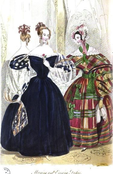 Evening and morning dresses for January, 1836 England, Court Magazine