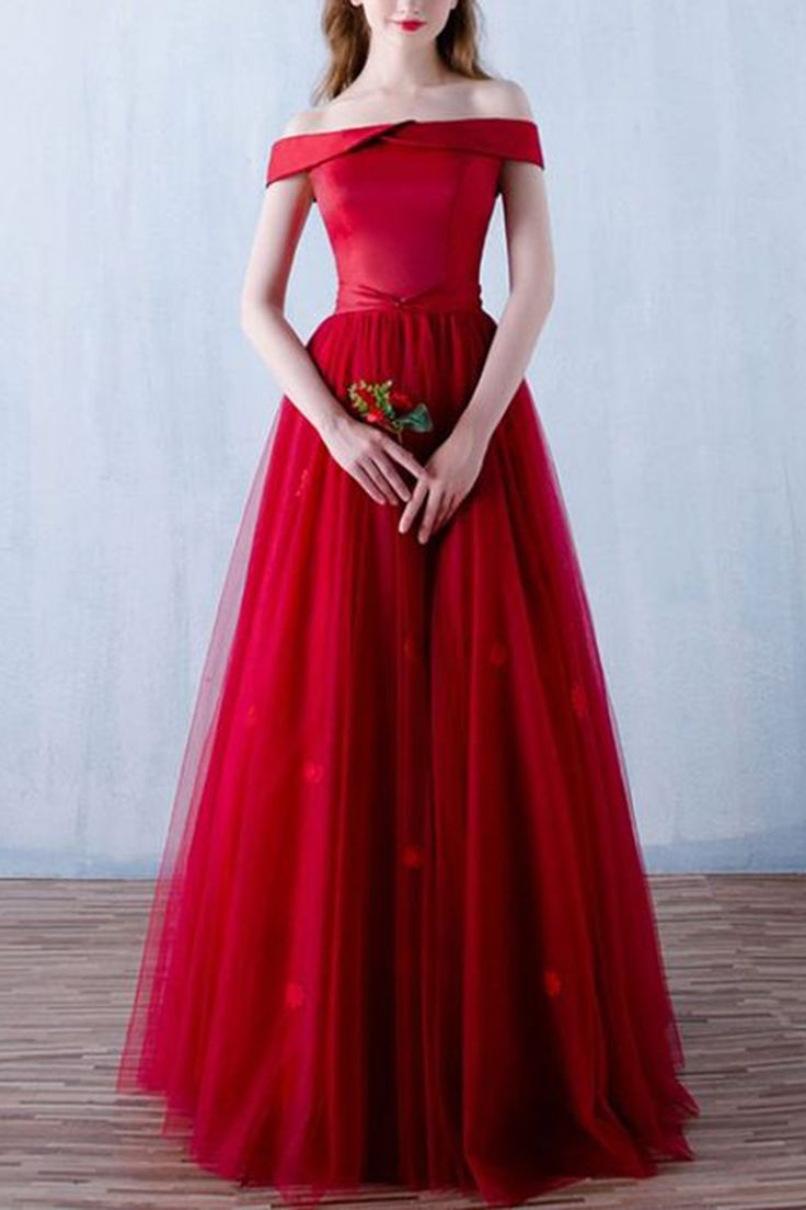 red tulle off shoulder long formal A-line prom dress for teens