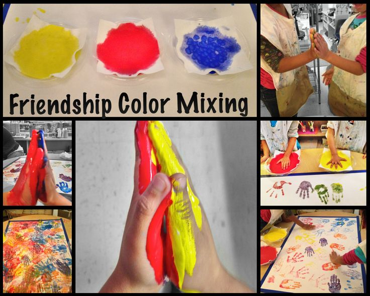Friendship activity with colour mixing - could use alongside handprint activity for nursery or reception