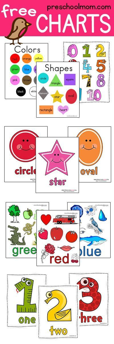 Great Collection of Free Printable Charts.  This site has Colors, Shapes, Numbers, Alphabet, Butterfly, Frog Life Cycle, and more!