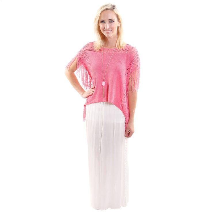 2 Piece Outfit: Hadari Womens Scoop Neck Crop Fashion Top With Fringe and Lace Maxi Skirt