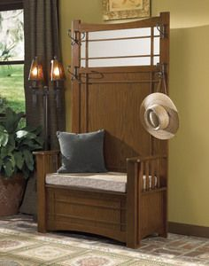 foyer furniture. Powell Mission Oak Hall Tree With Storage Bench| Home Furniture And Patio #modern # Foyer Y