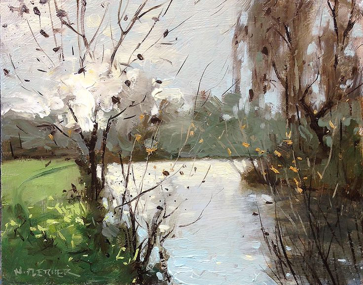 Nigel Fletcher, Bright sun at the lake10 x 8 inches.