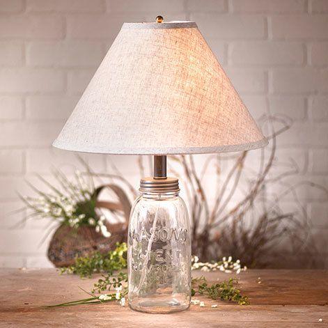 "Irvin's Medium Mason Jar Lamp Pictured With Optional 15"" Ivory Linen Shade"