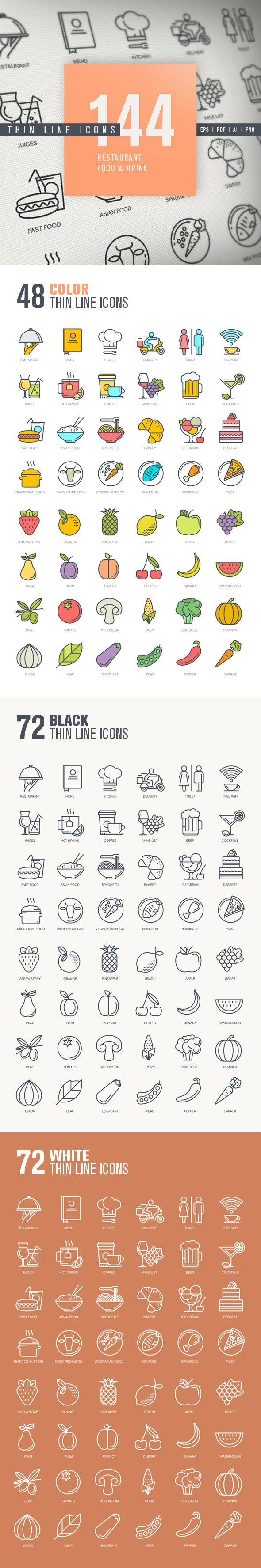 Thin Line Icons for Restaurant, Food & Drink on Behance