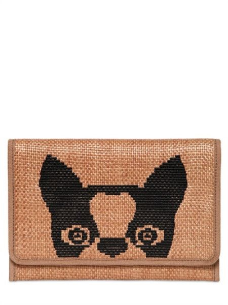 MARC BY MARC JACOBS Brown Olive #Dog Raffia #Clutch Height: 17cm width: 26cm. Front flap snap button closure. All over gold coloured rabbit print.