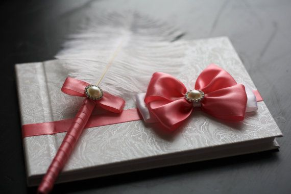 Coral Guest Book with pen Coral Sign in Book by AlexEmotions
