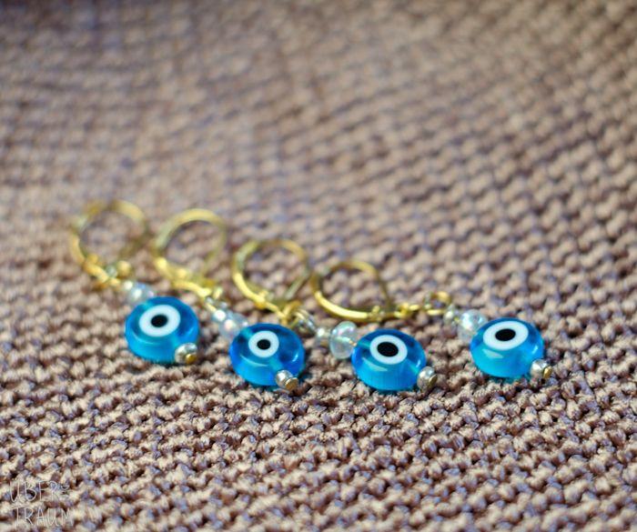 Blue Evil Eye Crochet Stitch Markers - in silver & gold - set of 4 - Über den Traum