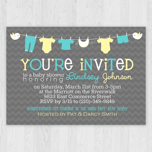 Clothesline - Teal & Yellow - Baby Shower Invitation