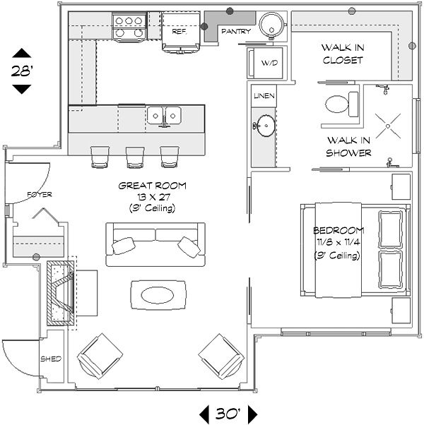 The 25 best guest house plans ideas on pinterest guest for Mother in law cottage plans