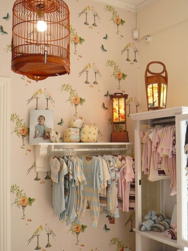 Hang clothes on the wall. | 25 Hacks To Make Room For A Baby In Your Tiny Home