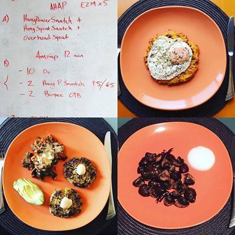 WOD @cf_220  Desayuno: Huevo estrellado sobre una crepa de camote. Comida: Carne molida con pimientos, rajas de chile poblano gratinadas y aguacate. Cena: Champiñones al ajillo y yoghurt griego. #cambiateapaleo #paleolifestyle