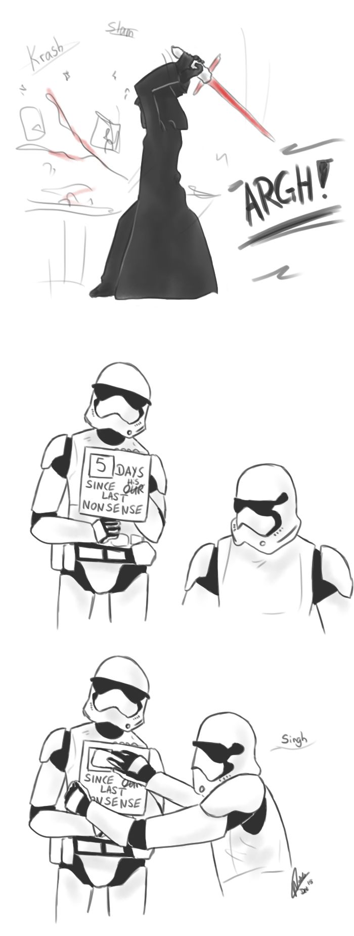 Kylo Ren is a two year old throwing tantrums, and it's great. Check out this artist's work on tumblr.