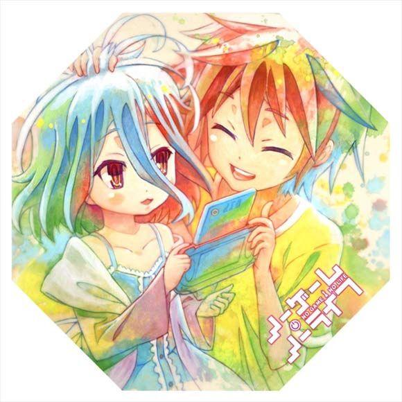 """Sora & Shiro Tabletop Umbrella """"Ita-Gasa"""" ~ No Game No Life $22.00 http://thingsfromjapan.net/sora-shiro-tabletop-umbrella-ita-gasa-no-game-no-life/ #no game no life umbrella #Japanese anime umbrella #anime stuff"""