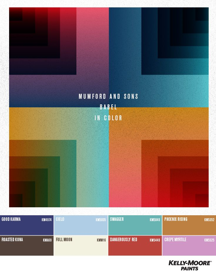 Mumford And Sons - Babel in color by Kelly-Moore Paints. #mumfordandsons #colorpalette