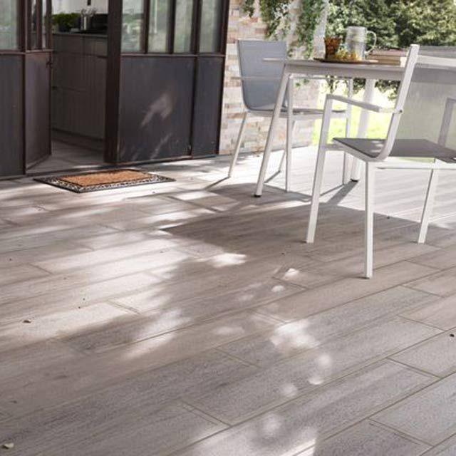 Carrelage terrasse bois gris 16 x 100 cm Sansio - CASTORAMA