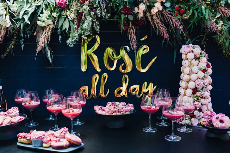Rosé All Day | Pink and gold dessert table | Pink croquembouche | HOORAY! Mag