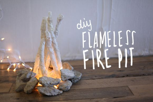 DIY Flameless Fire Pit - lace mache sticks (covered in foil) for delicate wood and then add to a stone fireplace and voila!
